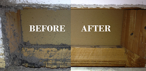 Comparision of the duct before and after cleaning.